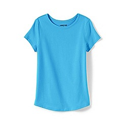 Lands' End - Blue Toddler Girls' Short Sleeve Pure Cotton T-shirt
