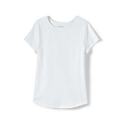 Lands' End - White Girls' Short Sleeve Pure Cotton T-shirt