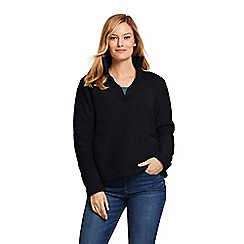Lands' End - Black Soft Sherpa Fleece Half Zip Top