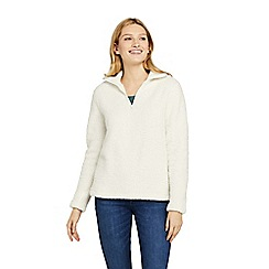 Lands' End - Cream Soft Sherpa Fleece Half Zip Top
