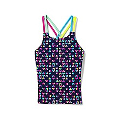 Lands' End - Pink Girls' Cross-Back Patterned Tankini Top
