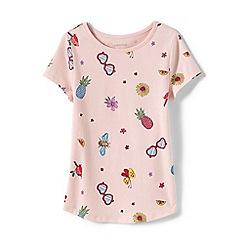 Lands' End - Pink Girls' Short Sleeve Print Cotton T-Shirt