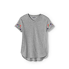 Lands' End - Grey Girls' Cotton Blend Tunic with Embroidered Sleeves