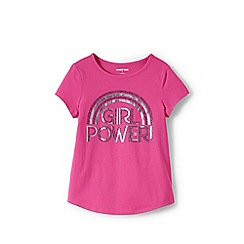 Lands' End - Pink Girls' Dipped Hem Pure Cotton T-shirt with Glitter Graphic
