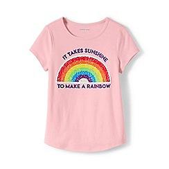 Lands' End - Pink Girls' Dipped Hem Pure Cotton T-shirt with Flip Sequin Motif