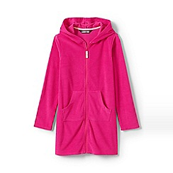 Lands' End - Pink Girls' Terry Hooded Cotton Blend Cover-Up
