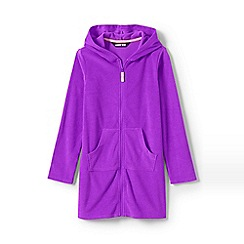 Lands' End - Purple Girls' Terry Hooded Cotton Blend Cover-Up