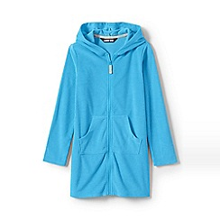 Lands' End - Blue Girls' Terry Hooded Cotton Blend Cover-Up
