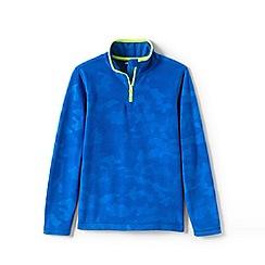 Lands' End - Blue Kids' Half Zip Embossed Fleece Top