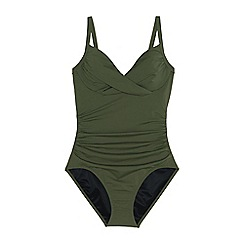 Lands' End - Green Sweetheart Neck Ruched Perfect Swimsuit