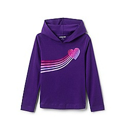 Lands' End - Purple Girls' Pure Cotton Jersey Glitter Print Pure Cotton Hoodie
