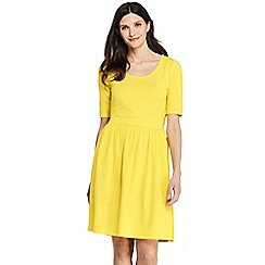 Lands' End - Yellow Elbow Sleeve Fit And Flare Dress
