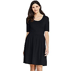 Lands' End - Black Elbow Sleeve Fit and Flare Dress