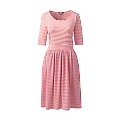 Lands' End - Orange Elbow Sleeve Fit and Flare Striped Dress