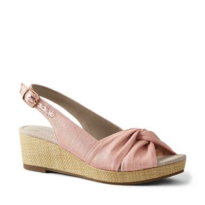57b033062f2b Lands  End - Pink Wide Canvas Slingback Wedge Sandals