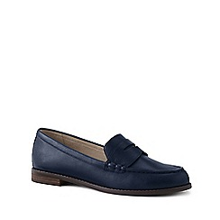 Lands' End - Navy Wide Leather Penny Loafers