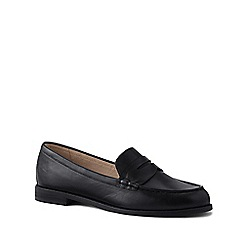 Lands' End - Black Wide Leather Penny Loafers