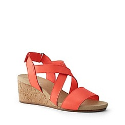 Lands' End - Orange Wide Leather Cork Wedge Sandals
