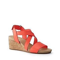 Lands' End - Orange Leather Cork Wedge Sandals