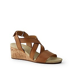 Lands' End - Tan Leather Cork Wedge Sandals