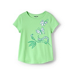 Lands' End - Green Girls' Pure Cotton T-shirt with 'Sun-Reactive' Graphic