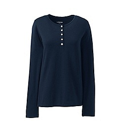 Lands' End - Blue Petite Cotton Blend Henley Sleep Top