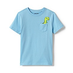 Lands' End - Blue Boys' Pocket Graphic Pure Cotton T-shirt