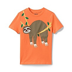 Lands' End - Orange Toddler Boys' Applique Graphic Pure Cotton T-shirt
