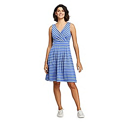 Lands' End - Blue Petite Striped Jersey Crossover Dress
