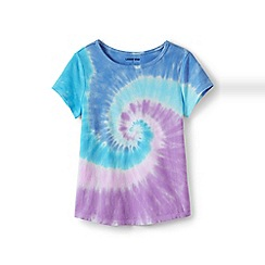 Lands' End - Purple girls' short sleeves cotton tie-dye t-shirt