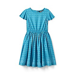 Lands' End - Blue Girls' Flutter Sleeve Print Twirl Dress