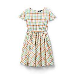 Lands' End - Multi toddler girls' flutter sleeves plaid twirl dress