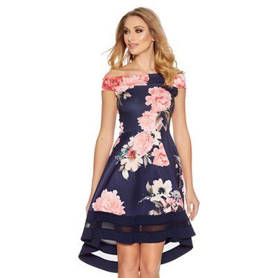 c5d293a6285e Quiz Navy and pink flower print bardot dip hem dress   Debenhams