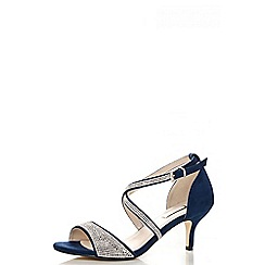 Quiz - Navy diamante low heel sandals