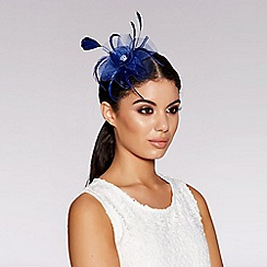 Quiz - Blue jewel feather fascinator