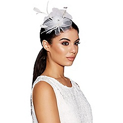 Quiz - White Small Jewel Feather Fascinator