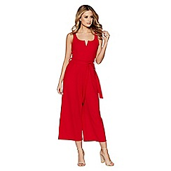 Quiz - Red crepe tie belt culotte jumpsuit