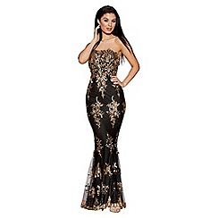 Quiz - Black and gold sequin embellished fishtail maxi dress