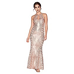 Quiz - Rose Gold Sequin and Mesh Fishtail Maxi Dress