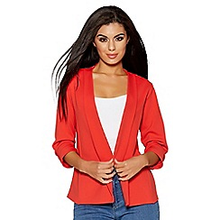 Quiz - Orange ruched 3/4 sleeves jacket