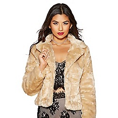 Quiz - Stone faux fur one button short jacket