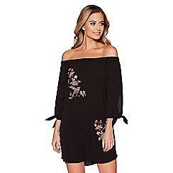 Quiz - Black embroidered 3/4 sleeves tunic dress