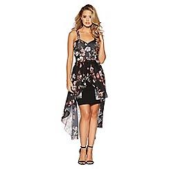 Quiz - Black Floral chiffon dip hem dress