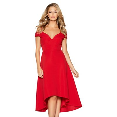 6abf5d193c Quiz Red sweetheart neck strappy bardot dress