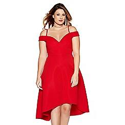 Quiz - Curve red stripe sweetheart neck dip hem dress