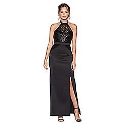Quiz - Black sequin high neck maxi dress
