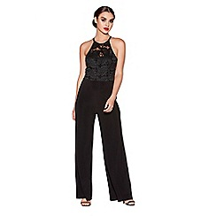 Quiz - Black glitter lace jumpsuit