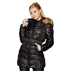 Quiz - Black and beige chevron 3/4 belted hood jacket