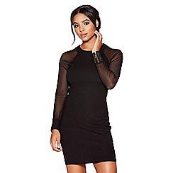Quiz - Black light knit mesh sleeves jumper dress