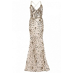 Quiz - Champagne sequin cross back fishtail maxi dress